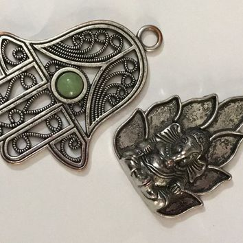 SET of TWO Vintage Boho Pendants / Oversized Eastern Statement Pendants / Hamsa Hand Ganesha Elephant Hindu Amulets / Silver Tone Green Gem
