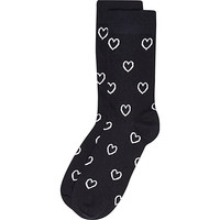 River Island MensNavy love heart valentine socks