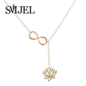 Infinity Lotus Lariat  Pendant Necklace for Women Y Style Chain  Flower Necklace Jewelry Gift N043