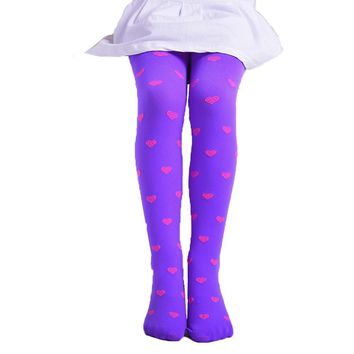Bohemian  Lovely Children Girls Footed Heart Dots Tights Stockings Ballet Candy Colors cotton Heart Print Tight Stocking Pantyhose