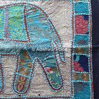 Indian Elephant Hippie Hippy Tapestry Wall Hanging Vintage Textile, Embroidered Tapestry, India Patchwork, Lucky Trunk up Elephant