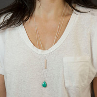 Chain Bar and Turquoise Teardrop Necklace