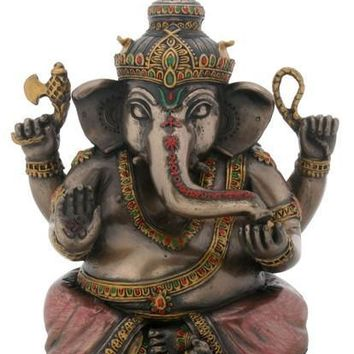 Sitting Ganesh Statue, Bronze and Color Finish - T82840