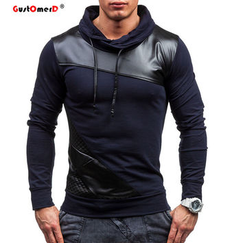 GustOmerD 2016 New Brand Hoodies Men Tracksuits Men Fashion Leather Patchwork Sweatshirt Slim Fit Mens Hoodies And Sweatshirts