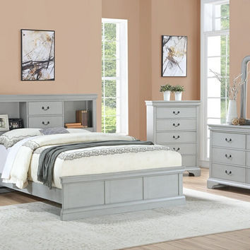 Poundex F9423Q 4 pc Bellagio grey finish wood bookcase queen bed set