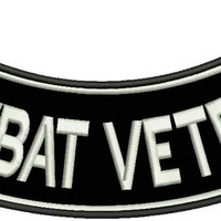 Combat Veteran Rocker Patch Biker Motorcycle Patches for Vest Jacket size 11""