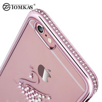 Tomkas Rhinestone Silicone Case For iPhone 6 6S / 6S Plus Glitter Cute Luxury 3D Diamond Cover Gold Pink i Phone Coque Fundas