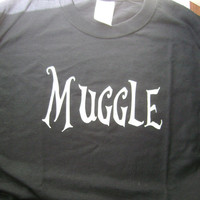 CLEARANCE Harry Potter Muggle tshirt in black with by Tanglethorne
