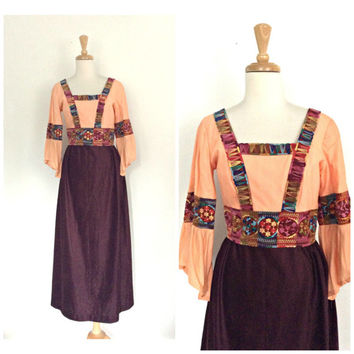 Vintage Hippie Dress - 60s dress - folk - boho chic - alternative wedding - festival - Medium