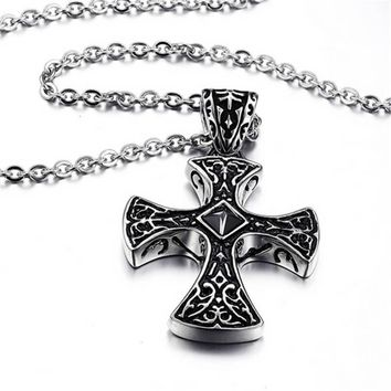 mens womens handmade old silver crucifix cross pendant necklace best christmas gift 2