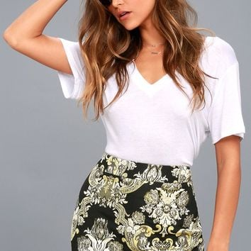 Dione Gold and Black Brocade Mini Skirt