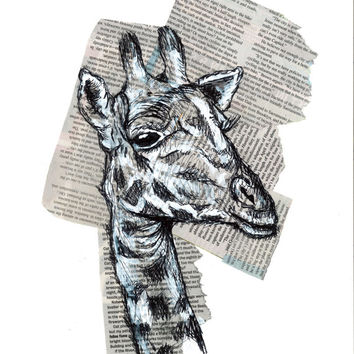 Giraffe Ink Drawing Mixed Media 8x10 Matted Art Print 5x7 Wall Art Animal Paintings
