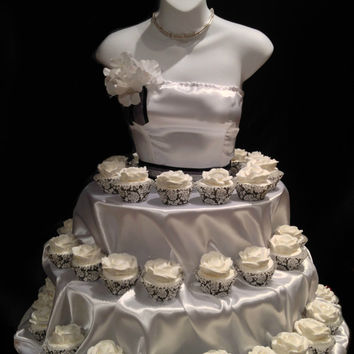 White Couture Cupcake stand for showers. bridal, birthdays, etc.