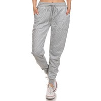 Quilted Joggers - Heather Grey