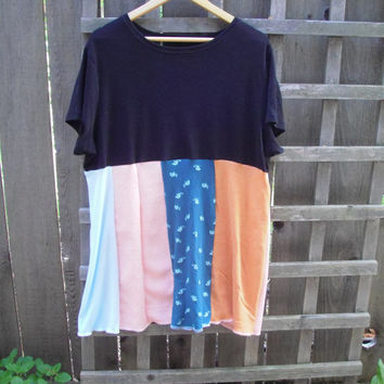Funky Oversize Plus Size Color Block Baby Doll Dress/ Eco Tee Panel Dress Upcycled T-Shirt
