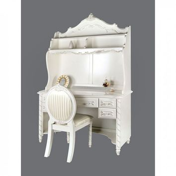 Alexandra pearl white finish wood fairy tale style designed desk , hutch and chair