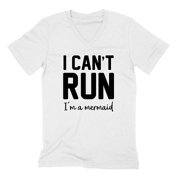 I can't run I'm a mermaid, funny saying, mermaid day, funny quote  V Neck T Shirt