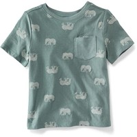 Printed Crew-Neck Pocket Tee for Toddler | Old Navy