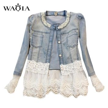 Womens Jacket denim lace style light blue long sleeve button up breast pockets
