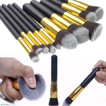 10Pcs Professional  Makeup Brushes Set Tool Cosmetic Eyebrow Foundation  Powder Blush Brush