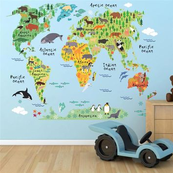 new 037 cartoon animals world map wall decals for kids rooms office home decorations pvc wall stickers diy mural art posters