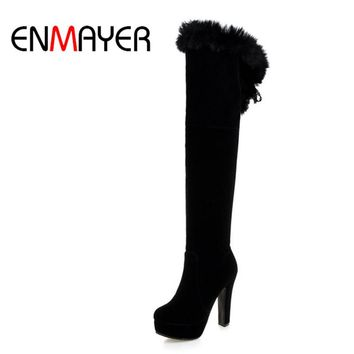 ENMAYER Fashion Long Boots for Women Nubuck Winter Boots Sexy Over the Knee High Heels Women Boots Large Size 34-43 Shoes