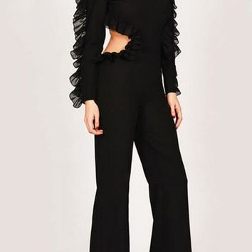 Black Cascading Ruffle Cut Out Buttons Elastic Waist Long Jumpsuit
