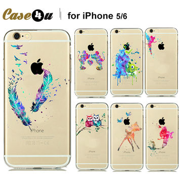 Fashion Watercolor Art Transparent Soft TPU Case Cover For Capinhas iphone 7 7plus 6 6s plus 5 5SE Cartoon Animals Mickey Mouse