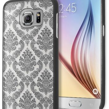 Galaxy S6 Phone Case, Bastex Hard Protective Black Damask Design Case Cover for Samsung Galaxy S6 G925