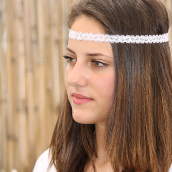 Thin Headband with Diamond like Rhinestones, White Elastic Headband ,Wedding Hair, Bridesmaids hair, Hair piece, Wedding headband