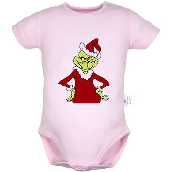 How the Grinch Stole Christmas Pattern Newborn Infant Baby Boys Girls Cotton Romper Jumpsuit Bodysuit Clothes Outfits