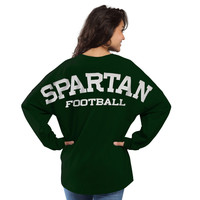 Women's Green Michigan State Spartans Football Sweeper Long Sleeve Oversized Top