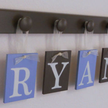 Nursery Wooden Wall Letters Painted Name RYAN with 4 wood pegs Light Blue and Chocolate Brown Personalized for Boys Room