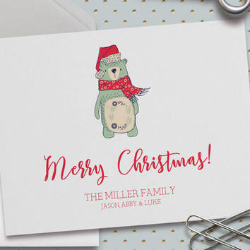 Personalized Christmas Card, Christmas Bear Card, Merry Christmas, Custom Family Names, Happy Holidays, Bear, Mint Bear,5.5 x 4.25 Inch (A2)