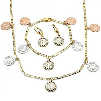 Gold Layered 06.253.0001 Necklace, Bracelet and Earring, San Benito and Elephant Design, with Multicolor Crystal, Polished Finish, Tri Tone