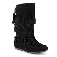Girls Kids Ositos BDW16-K Tall Suede Fringe Moccasin Boots