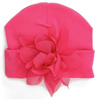 Infant Girl's PLH Bows & Laces Flower Embellished Knit Hat
