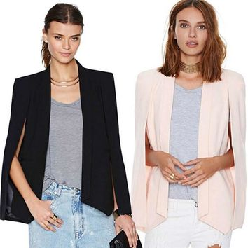Black white Pink Women's Blazer Long Sleeve Lapel Cape Blazer Coat Casual Split Poncho OL Jacket Cloak Coat Women Blazer Suit