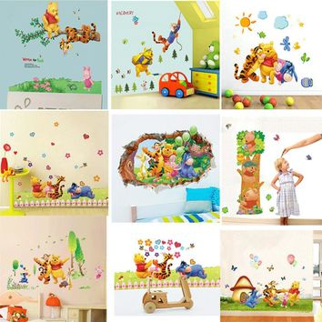 Cartoon Winnie the Pooh and friends wall stickers for kids rooms decals decorative pvc wall art wallpaper Nursery room Decor