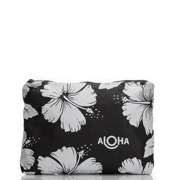 ALOHA Collection - Medium Hibiscus Pouch | Black