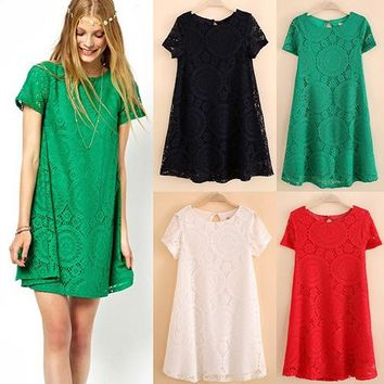 Women's Vintage Bohemian Short Sleeve Lace Dress Bottoming Loose Hollow Dresses