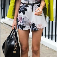 Strappy Floral Print Belted Romper