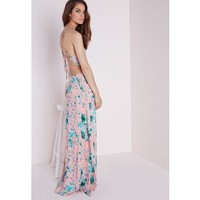 Missguided - Strappy Maxi Dress Peach Floral
