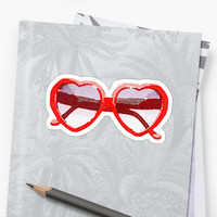 'Heart-Shaped Sunglasses in Watercolor - Trendy/Summer/Hipster Style' Sticker by Vrai Chic