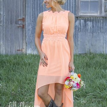 Romance in high Low in Peach