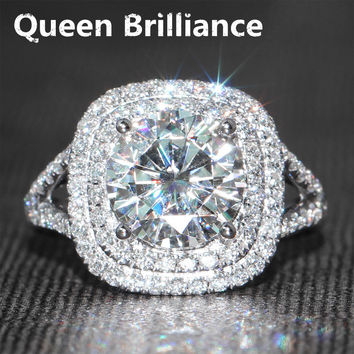 3 Carat ct F Color Engagement Wedding Lab Grown Moissanite Diamond Ring With Real Diamond Accents Solid 14K 585 White Gold