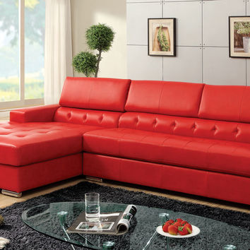 A.M.B. Furniture & Design :: Living room furniture :: Sofas and Sets :: Leather sectionals :: Floria modern style red bonded leather Sectional sofa with adjustable headrests and tufted seats with chrome legs