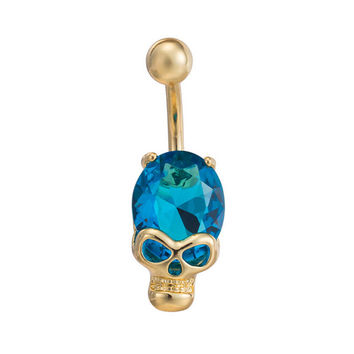 Fashion Halloween Gift Skull CZ Women Navel Piercings Sapphire Jewelry Gold Dangle Reverse Drop Body Piercing Belly Button Ring