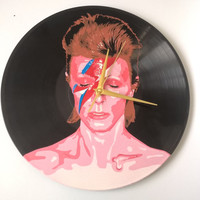 David Bowie Ziggy Stardust painted retro vinyl clock. Gift for music lover