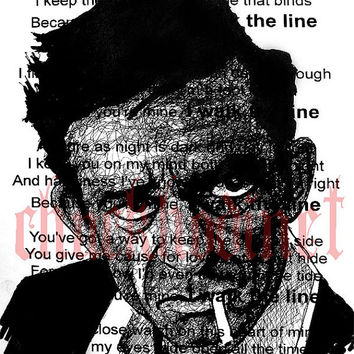 Print 8x10  I walk the line  Johnny Cash Country by chuckhodi